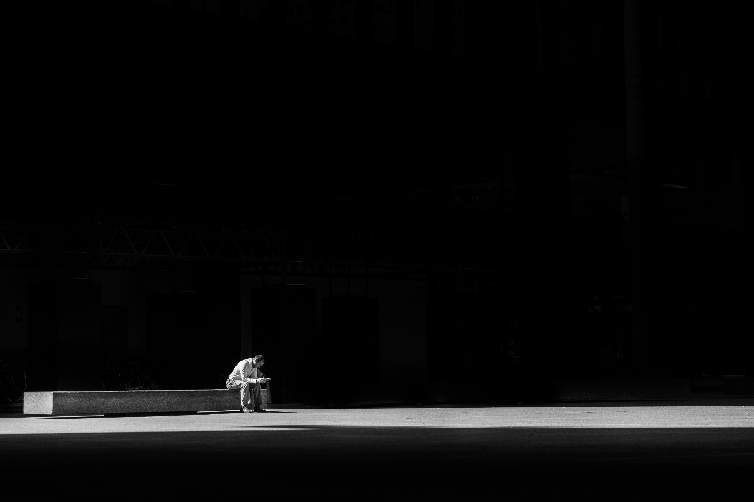 Lone person on bench