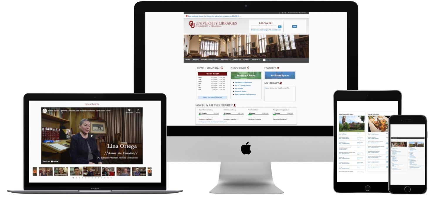 OU Libraries Homepage on Multiple Screens