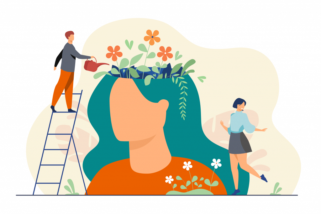 illustration of man and woman planting flowers.