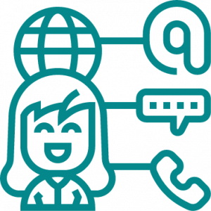 Woman with multiple contact icons
