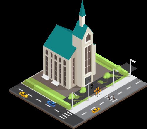 Church building on corner lot
